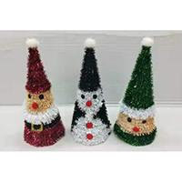ASSORTMENT OF 3 X 30CM CHRISTMAS TINSEL TABLE DECO